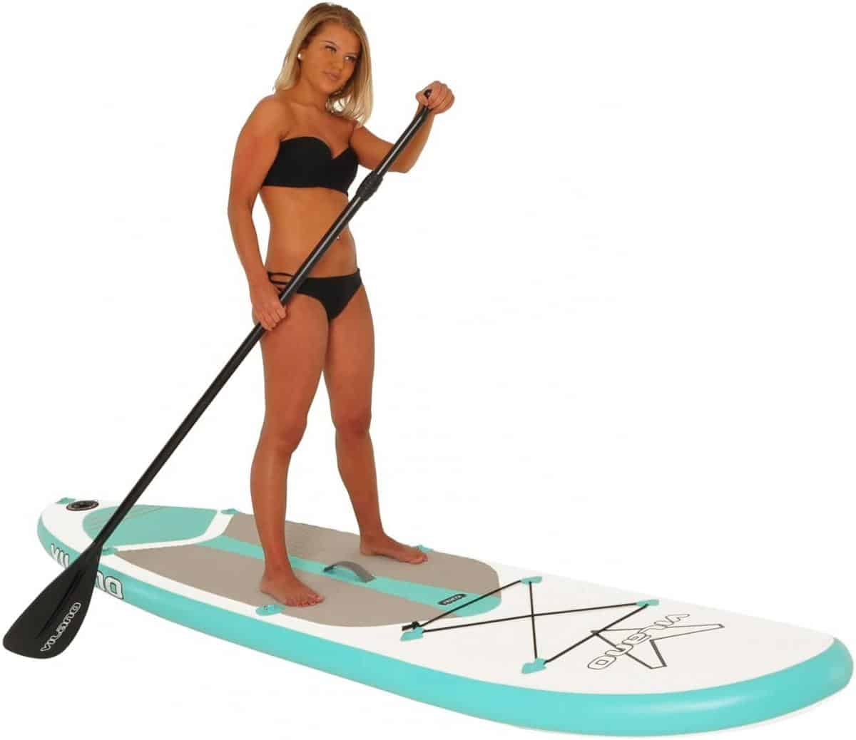 Vilano Journey Inflatable SUP Stand Up Paddle Board Kit White / Blue Review Image 1