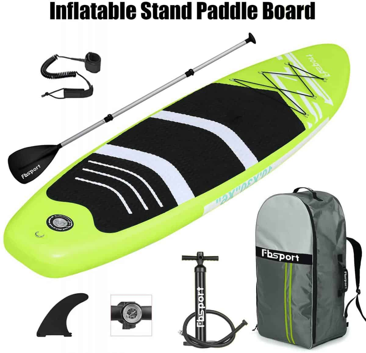 FBSPORT 10'/10.6' Premium Inflatable Stand Up Paddle Board, Yoga Baord With Durable SUP Accessories & Carry Bag | Wide Stance, Surf Control, Non-Slip Deck, Leash, Paddle And Pump For Youth & Adult Apple Green Review Image 3