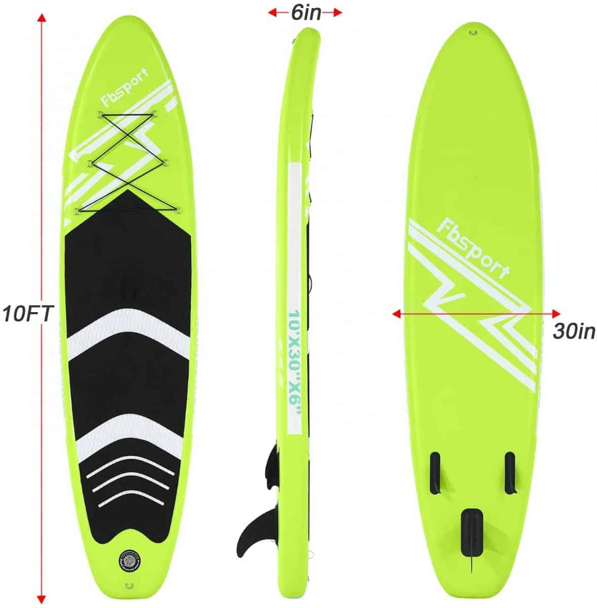 FBSPORT 10'/10.6' Premium Inflatable Stand Up Paddle Board, Yoga Baord With Durable SUP Accessories & Carry Bag | Wide Stance, Surf Control, Non-Slip Deck, Leash, Paddle And Pump For Youth & Adult Apple Green Review Image 4