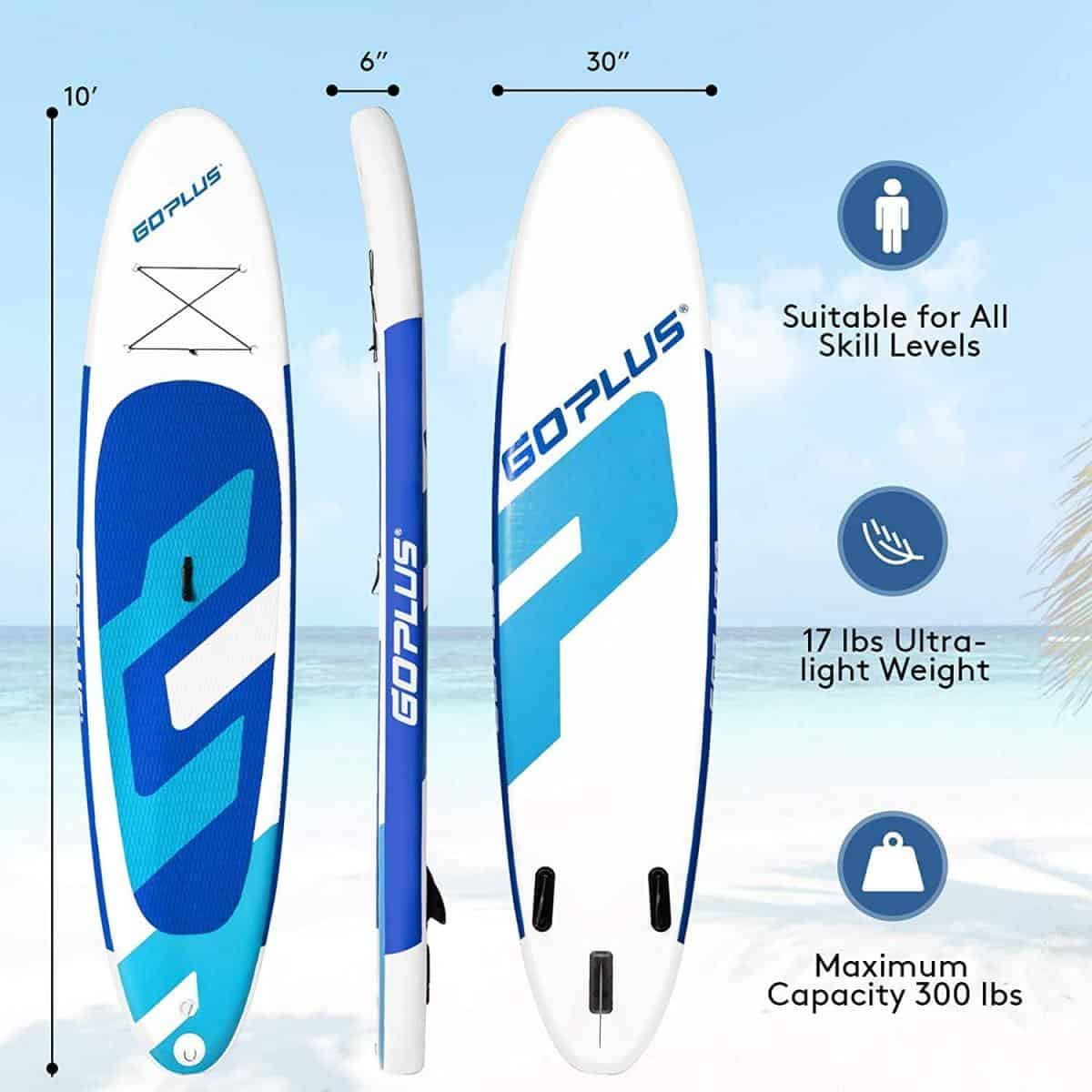 Goplus Inflatable Stand Up Paddle Board, 10ft/11ft SUP With Accessory Pack, Adjustable Paddle, Carry Bag, Bottom Fin, Hand Pump, Leash And Repair Kit Blue 10FT Review Image 1